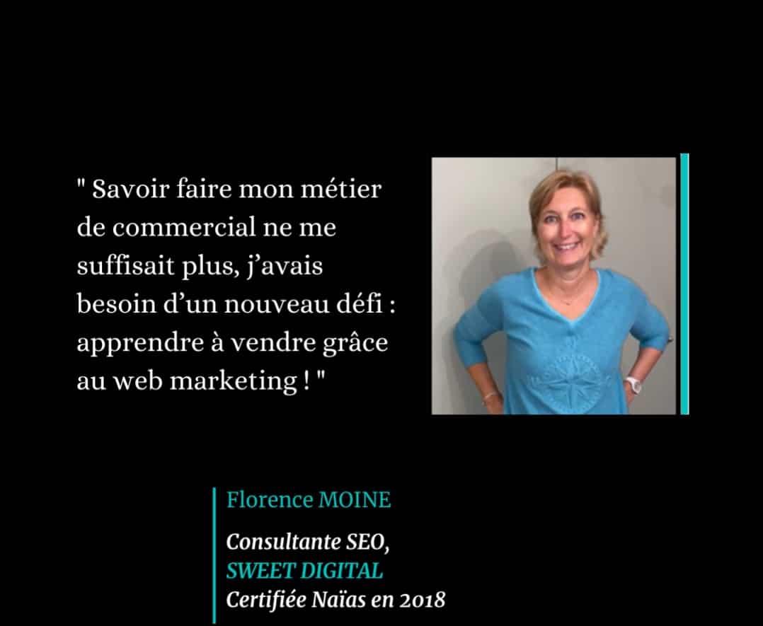 Témoignage de Florence Moine, certifié Naïas en Marketing Digital