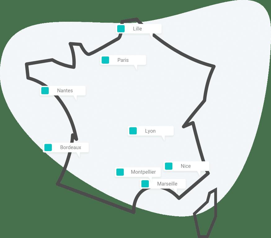 Carte des Formations Naïas partout en France