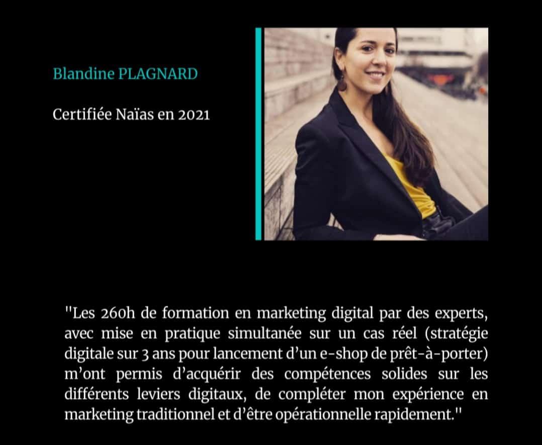 Témoignage Blandine Plagnard Certification Marketing Digital - Naïas Formation