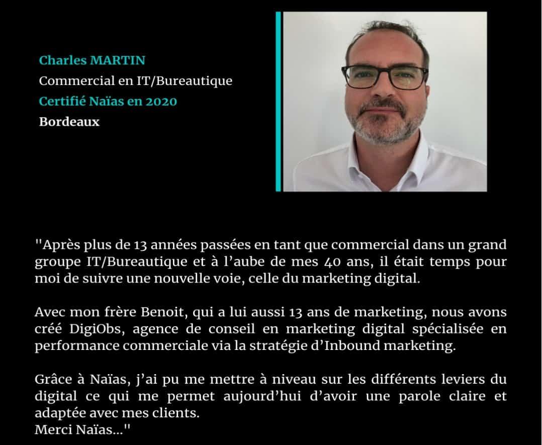 Témoignage de Charles Martin, certifié Naïas en Marketing Digital