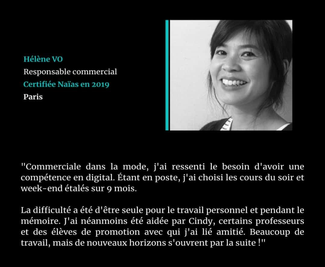 Témoignage de Hélène VO, certifié Naïas en Marketing Digital