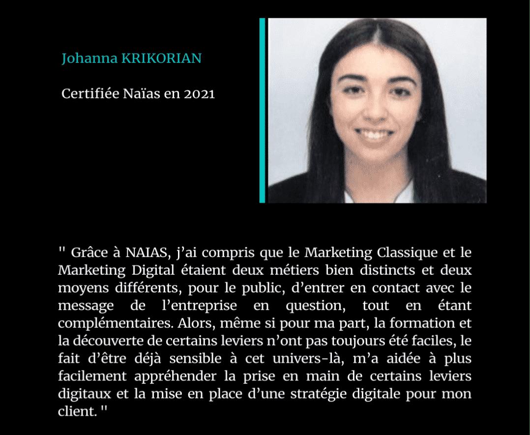 Témoignage de Johanna Krikorian, certifié Naïas en Marketing Digital