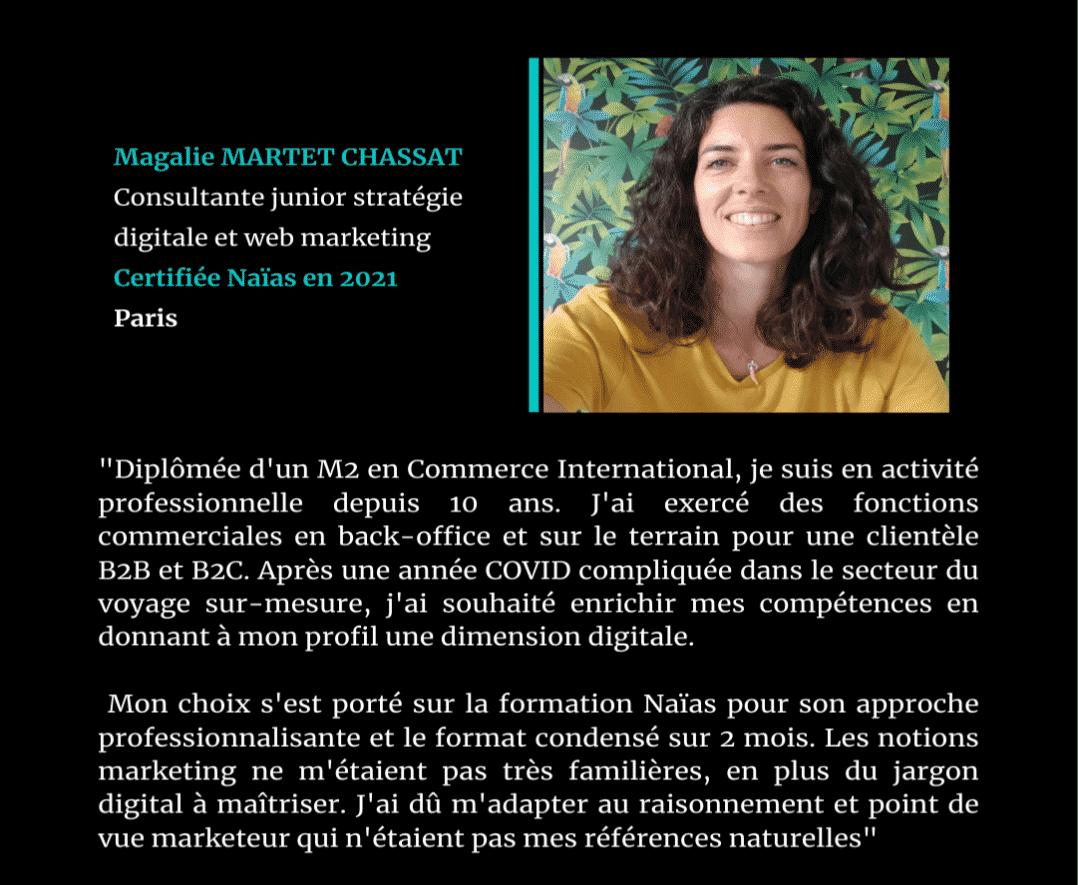 Témoignage de Magalie MARTET CHASSAT, certifié Naïas en Marketing Digital