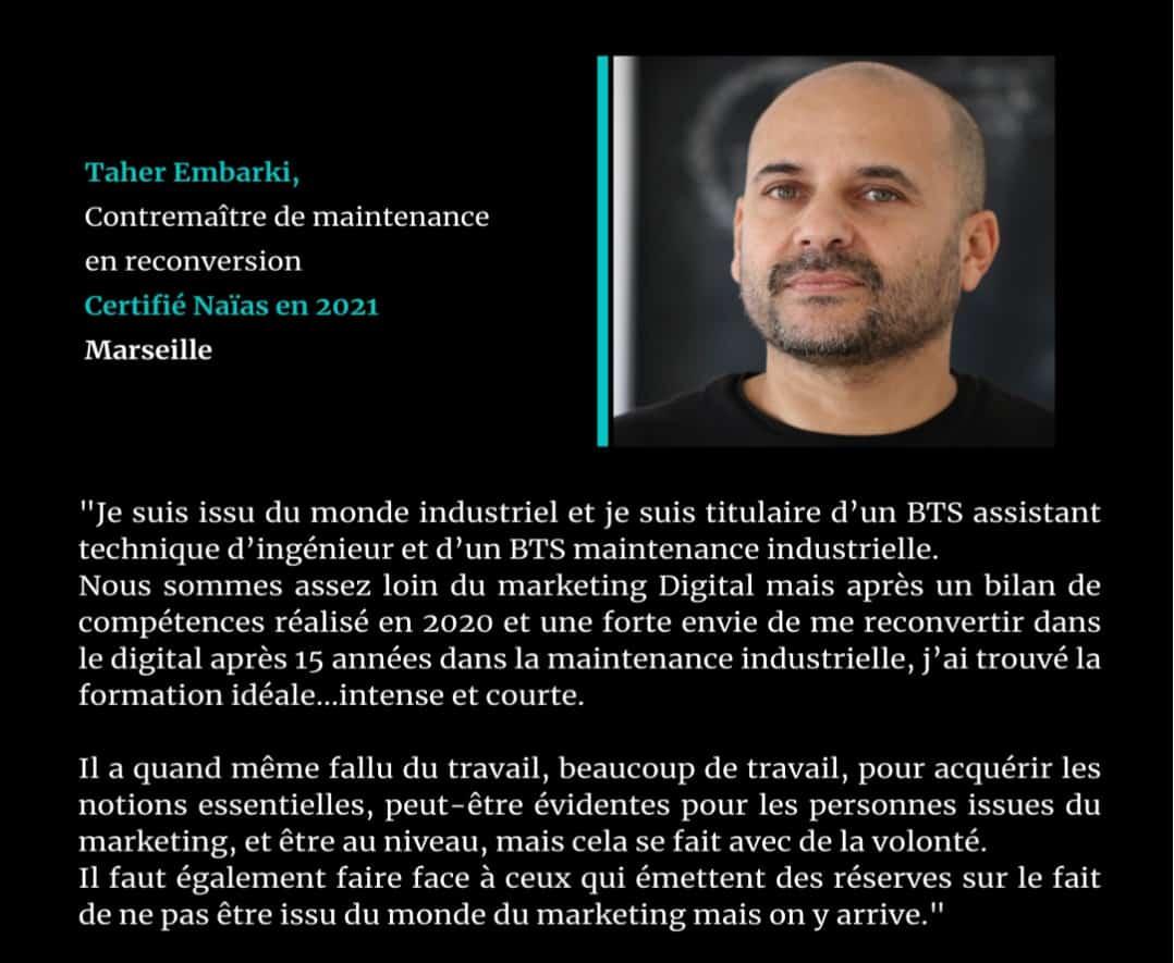 Témoignage de  Taher Embarki, certifié Naïas en Marketing Digital